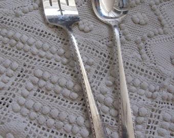 Vintage Silver Plate Large Serving Spoon Fork Set - Bordeaux 1945 Pattern (18A)