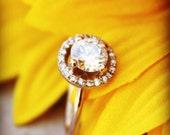 Moissanite Halo Ring, Rose Gold Diamond Ring, Diamond Halo style ring,