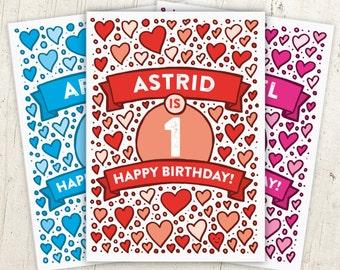 Hearts 1st Birthday Card