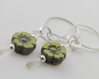 Flower Earrings, Chartreuse, Sterling Silver, Small, Handcrafted, Green, Yellow, Flower, Opaque, Glass.