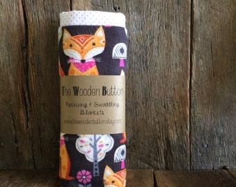 Receiving Blanket / Set of Two, Woodland Fox and white with pink polkadots