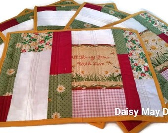 Quilted Placemats - Set of 6 - All Things Grow with Love FREE SHIP