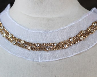 Cute  embroidered    with rhinestones and chain