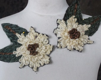 Cute embroidered  and  beaded  flower applique   2 piece listing