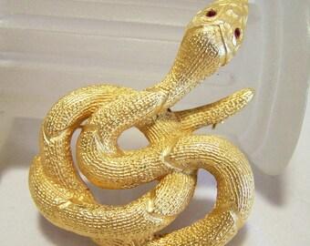 Jilbari Coiled Snake Pin Ruby Red Rhinestone Eyes Gold Tone Brooch 516DZ