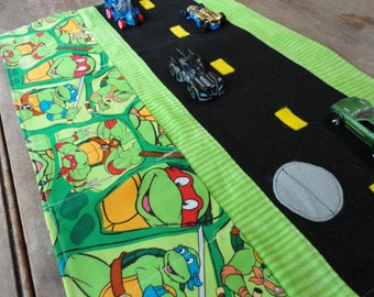 Ninja Turtles Car Caddy Roll up Tote with Road