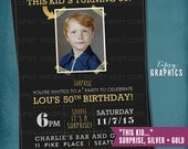 Black & Gold Milestone Surprise Birthday Party Invite. This Kid's Turning 50. Old School Baby Photo. Any age, any colors. by Tipsy Graphics.