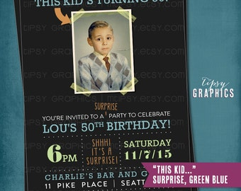 Milestone Surprise Birthday Party Invite. This Kid's Turning 40. Perfect with Old School Baby Photo by Tipsy Graphics. Any age, any colors