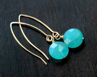Simple aqua jade earrings, coin beads, 14k gold filled, modern, wire wrapped, teal, aqua blue, long, dangle, drop, Mimi Michele Jewelry