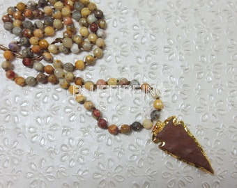 35 inches long Faceted Crazy Lace Agate  in 8mm Beaded Necklace, Hand Knotted Necklace