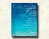 Perhaps they are not stars - 11x14 Mounted Word Art Print - Motivational Quote - Blue Aqua Cerulean - other versions - canvas, greeting card