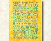 Keep the Faith - Positive Karma - 11x14 - Mounted WORD ART PRINTS - Hope Healing Peace Faith Yellow - Cafe Mount