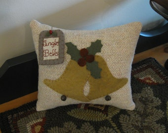 Jingle Bells Hand Dyed Wool Applique Christmas Pillow