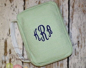 Personalized Green Seersucker Bible Carrying Case - Your Choice of Monogram or Name