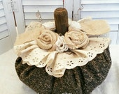 SALE 1/2 OFF Large Rustic Tweed Fabric Pumpkin Burlap And Lace Roses Repurposed Rusty Tool Handle Stem Copper Wire Tendrils Shabby Farmhouse