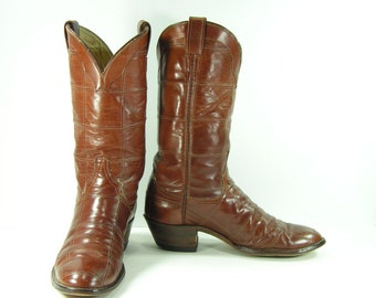 vintage cowboy larry mahan boots mens 10.5 D brown cowtown leather western