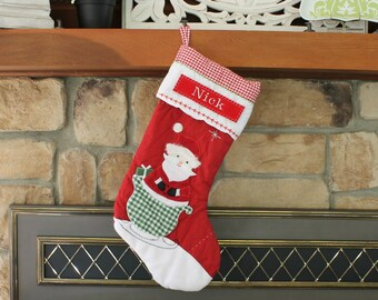 Red Santa in Sleigh Stocking Pottery Barn Quilted Stocking  ---  Free Monogram