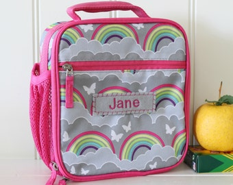 Lunch Bag With Monogram Classic Style Pottery Barn -- Gray/Pink Rainbow