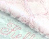 Baby Blanket, Personalized Baby Blanket, Baby Pink Lattice and White Minky Baby Blanket, Newborn Girl Baby Blanket,Stroller Size