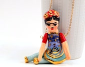 Statement necklace , Necklace, Pendant, Golden chain with a ceramic pendant, ceramic figure chain pendant, clay pendant chain, clay jewelry