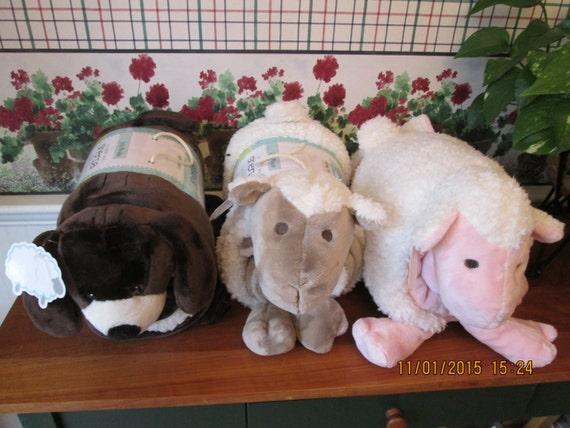Animal Pillow With Blanket : Personalized toddler blanket and animal pillow-Lamb or dog-Perfect for Christmas