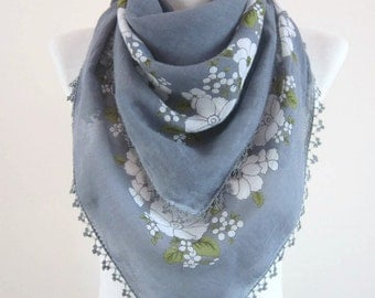 Oya Scarf, Traditional Turkish Fabric Scarves, Crochet Oya, Cotton Accessories, Grey Shawl, Crocheted Flower Yemeni, Lace Bandana