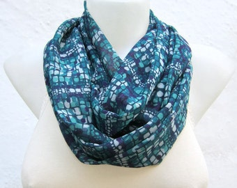 infinity scarf Loop scarf Neckwarmer Necklace scarf Fabric scarf  Purple Teal green   Chiffon scarf Gift Ideas Women scarf  Valentines gift