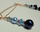 Pearl Clip Clamp, Intimate Jewelry, Sexy Jewelry, Vaginal Jewelry, Non Piercing, Pierced, Swarovski Pearl and Crystal Dark & Light Blue