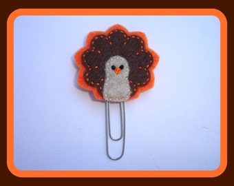 Felt planner clip organizer calendar bookmark paper clip - Happy Thanksgiving - turkey felt planner paper clip - planner accessories