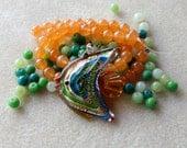 DIY Jewelry Kit, Murano Fish Pendant, Jade Beads, Glass Beads, Gemstone Beads, Necklace Kit, Craft Supplies, Bead Kit, Bead Crafts