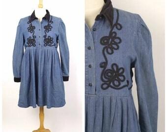 Empire Waist Denim and Black Velvet Dress 90s vintage Long Sleeve Cotton Button Up Baby Doll Dress Women Medium