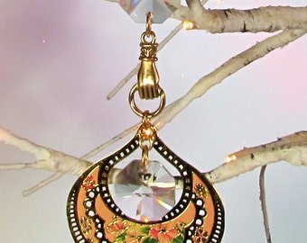 Crystal Sun Catcher, Christmas Ornament, Pink, Gold, 1S-34