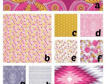 Custom Crib Bedding Pink gold Rossett Tribal  Aztec bumper,skirt,fitted sheet