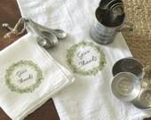 1/2 off today!  Give Thanks Flour Sak Towels | Cotton towels | Tea Towels | Farmhouse Towels | Shabbychic Decor | Cottage Home