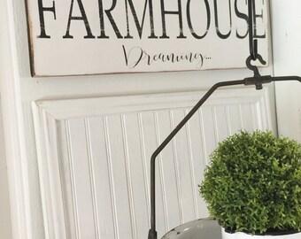 Farmhouse Dreaming Sign   Farmhouse Sign   Cottage Decor   Distressed Sign   Farmhouse   Wood Sign