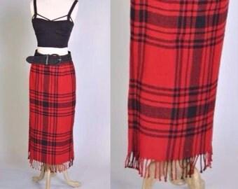 Plaid Fringe Skirt Red Buffalo Plaid Maxi Skirt 80s Tartan Plaid Blanket Skirt M L