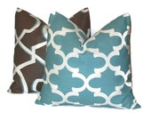 """SALE Decorative Pillow Covers 18"""" Set of TWO 18x18 Designer Fabric Throw Pillow COVERS Aqua Lattice Morrocan 18 inches Blue, Brown, White"""