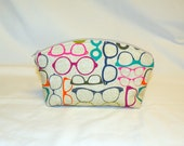 Extra Large Make-Up Bag in an Eye Glass Novelty Print