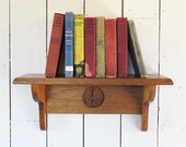 Vintage Hand Carved Peace Symbol Oak Bookshelf - Wall Mounted Shelf