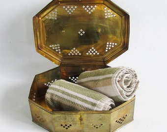 Vintage Decorative Brass Box - Betal Nut Box - Octagon Box