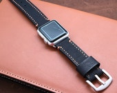 Baseball Glove Black Leather Apple Watch Strap (Black or Silver Buckle)