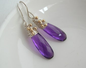 Amethyst Long Drop Earrings- Gemstone Jewellery- Amethyst Earrings- Amethyst Jewellery- Purple Gemstone