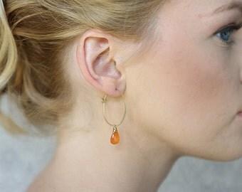 Clementine Carnelian Hoop Earrings