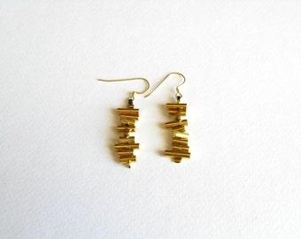 Dangle Gold Earrings-Brass Dangle Earrings-Modern Dangle Earrings-Modern Handmade Jewelry-Contemporary Jewelry