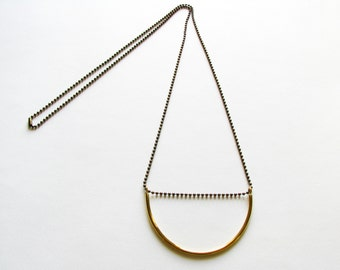 Minimalist Statement Necklace-Gold Crescent Necklace-Gold Bar Necklace-Curved Bar Necklace-Modern Jewelry-Gift For Her-Brass Necklace