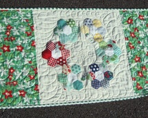 Table Runner with Hexagon Flower Center April Showers by Bonnie and Camille