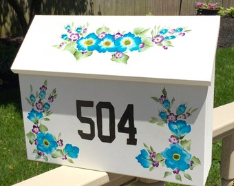 Wall mount mailbox, painted mailboxes, blue flowers, house number, separate matching sign, gardening, flowers, books, library,