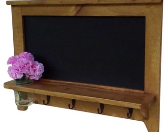 Primitive Country Chalk Board w/ Hooks and Deco Jar