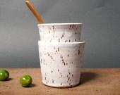 cups white danish speckled handmade kitchen unique vessels scandinavian studio pottery poterie ceramica by polli pots