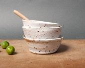 SALE bowls white speckled danish kitchen handmade unique vessel by eeliethel scandinavian studio pottery poterie ceramica